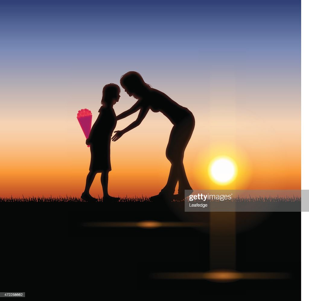 Mother's Day background[Mother and child in the sunset]