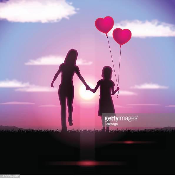ilustraciones, imágenes clip art, dibujos animados e iconos de stock de fondo del día de la madre [ madre y niño en el atardecer ] - madre e hija