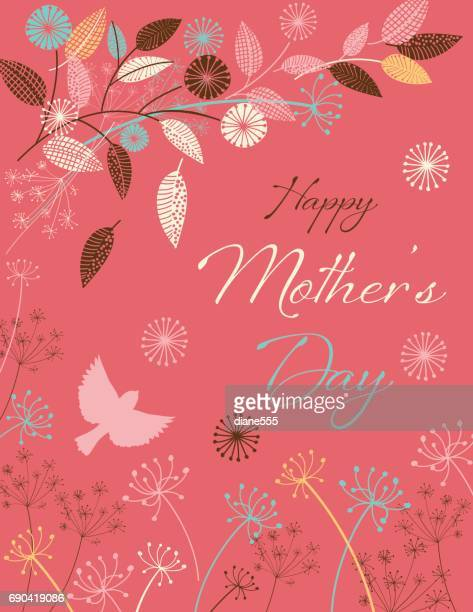 mother's day card with floral designs - mothers day stock illustrations