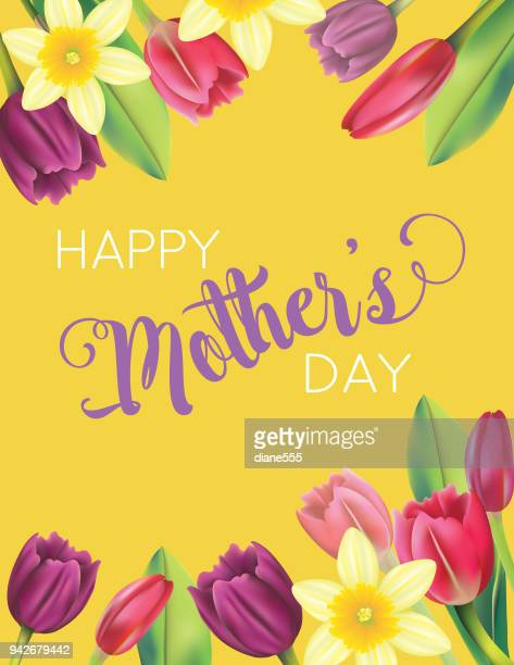 mother's day card with floral designs - daffodil stock illustrations