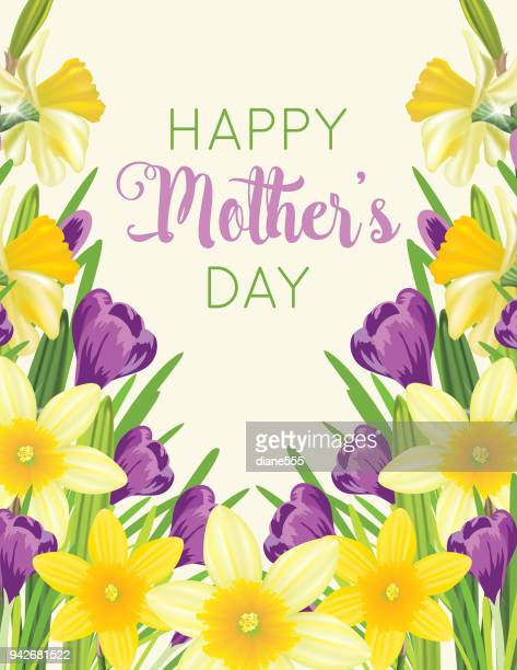 mother's day card with floral designs - daffodil stock illustrations, clip art, cartoons, & icons