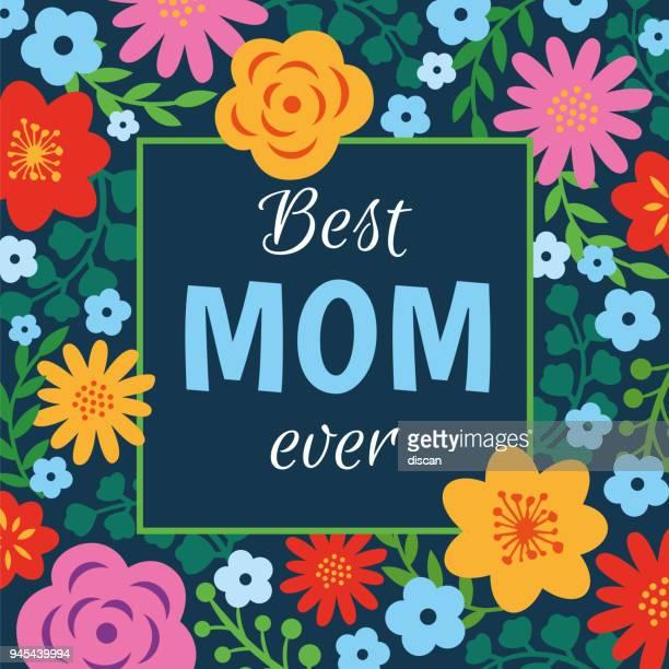 ilustraciones, imágenes clip art, dibujos animados e iconos de stock de tarjeta del día de la madre con marco flores - ilustración - mothers day