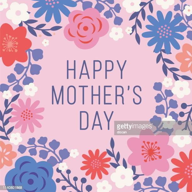 mother's day card with floral frame. - mothers day stock illustrations