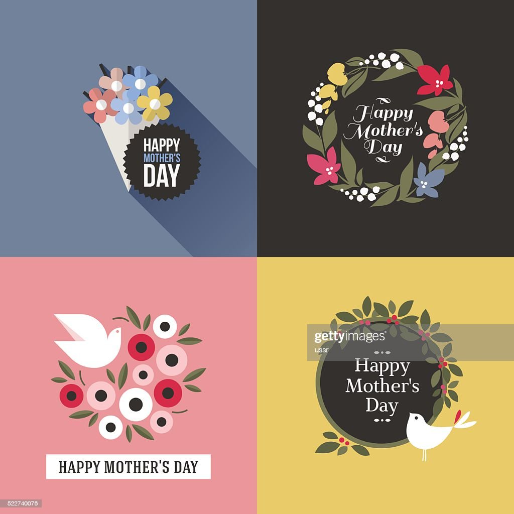 Mothers day card with pretty birds and floral decoration
