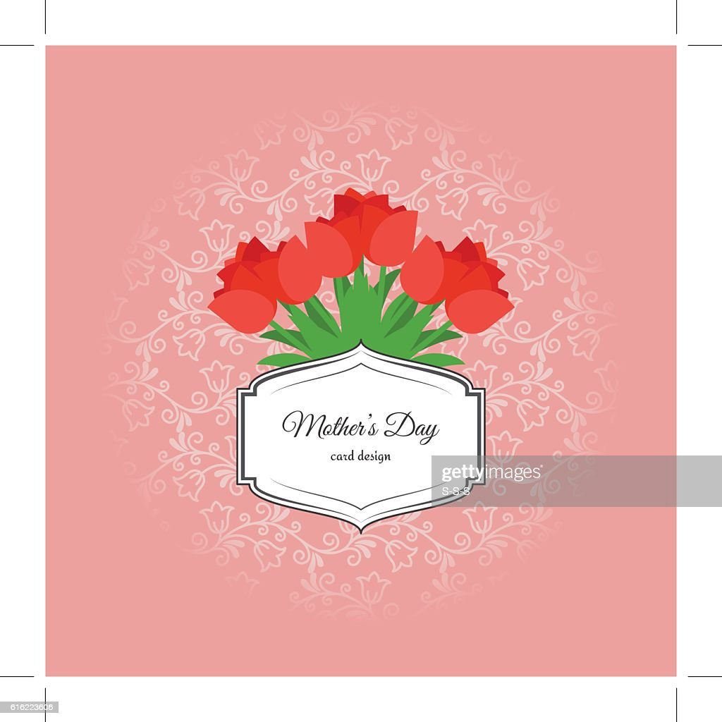 Mothers day card with red tulips : Vector Art