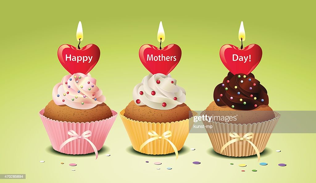 Mother's day cupcakes with heart candles