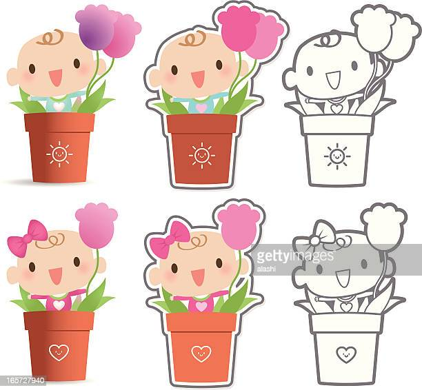 Mother's Day: Cute Baby In Pot And Holding Tulip