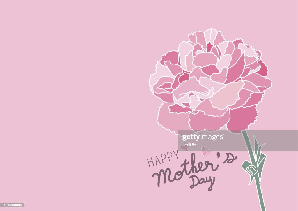 Mother's day design and pink carnation flower on pink background vector illustration