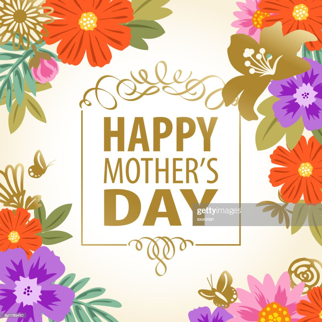 Mothers Day Floral Frame Vector Art | Getty Images