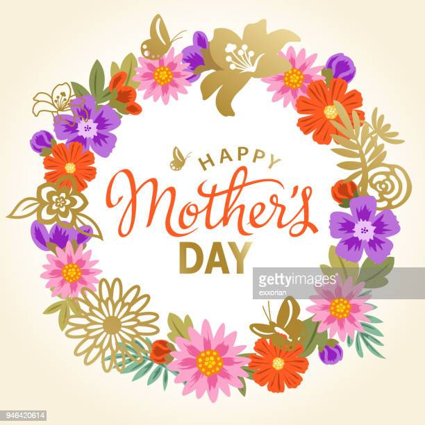mother's day floral wreath - mothers day stock illustrations