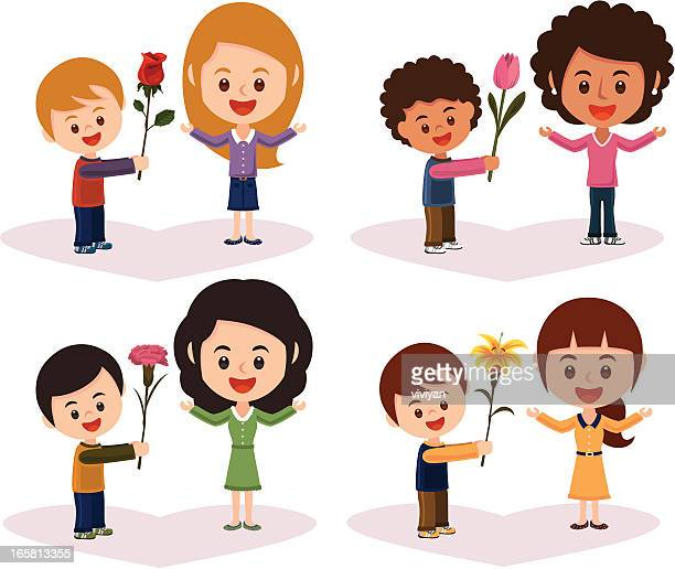mother's day flower with boy - japanese mom stock illustrations, clip art, cartoons, & icons