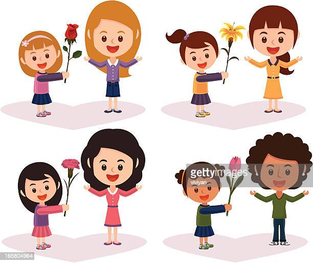 mothers day flower with girl - japanese mom stock illustrations, clip art, cartoons, & icons