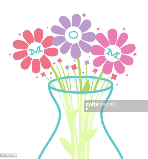 mother's day flowers - mothers day text art stock illustrations