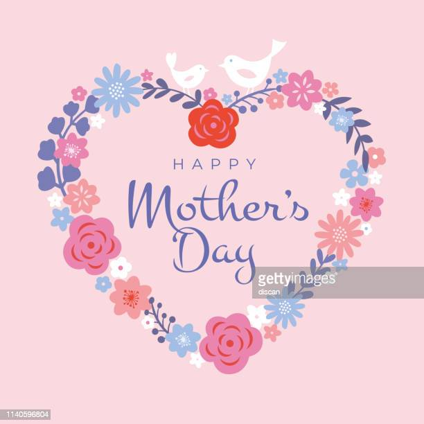 mothers day greeting card. floral heart background, spring holidays. vector illustration - mothers day text art stock illustrations