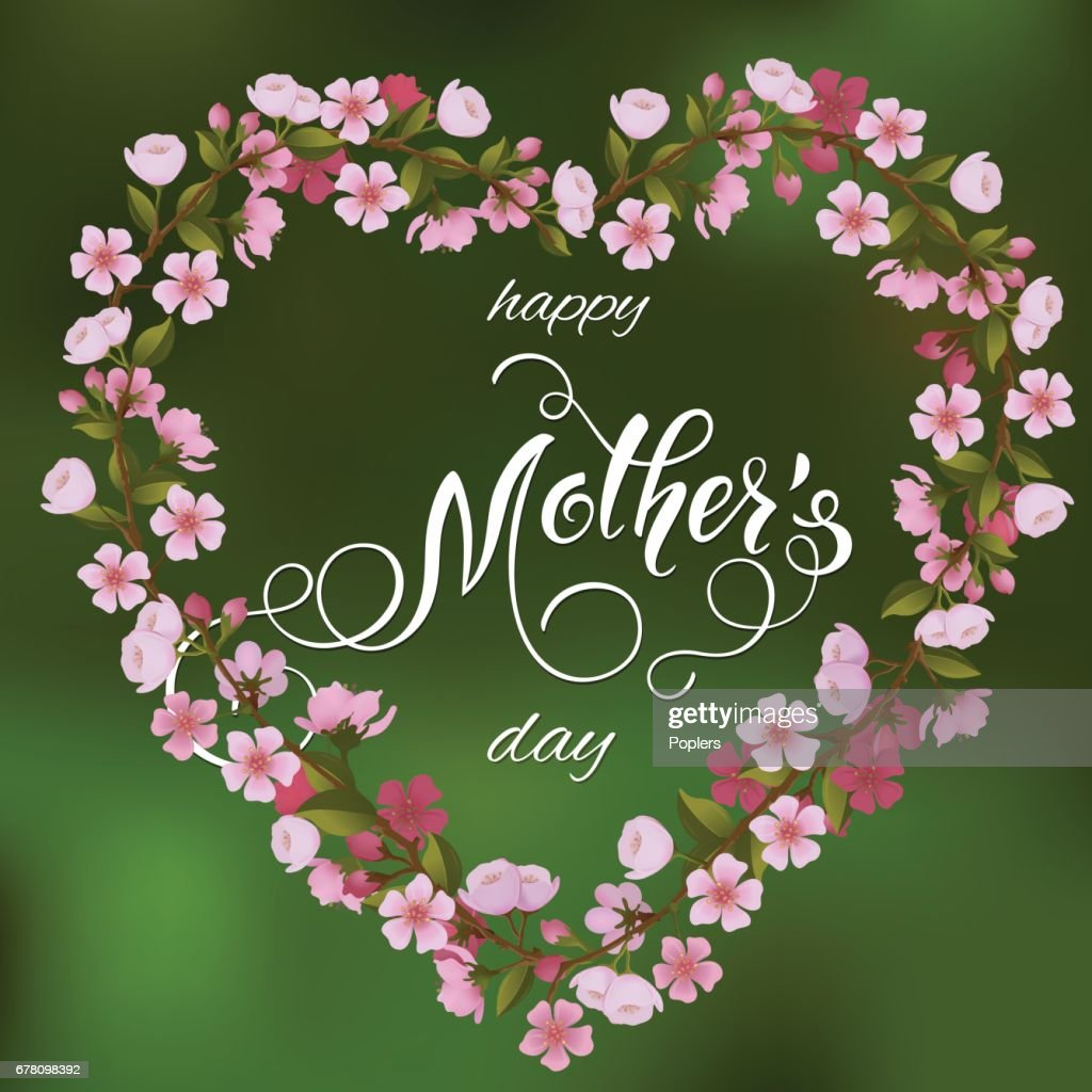 Mothers Day greeting card. Floral heart background, spring holidays. Vector Illustration EPS10