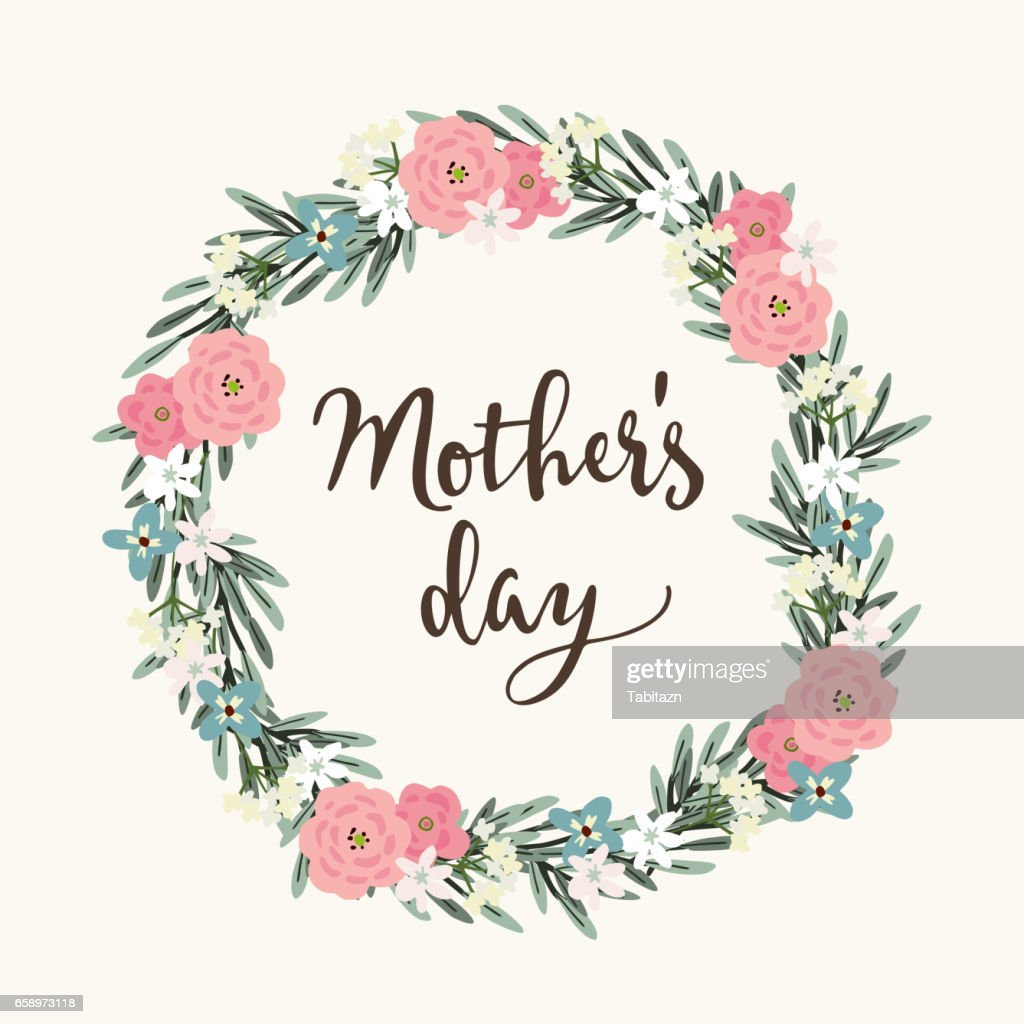 Mothers Day Greeting Card Invitation Brush Script Calligraphic