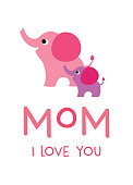 mother's day greeting card with elephant graphic