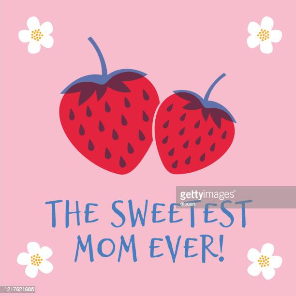 mothers day greeting card with strawberry. spring holidays. vector illustration. - mothers day text art stock illustrations