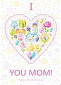 Mother's day heart congratulation