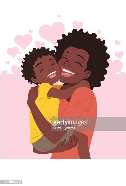 ilustraciones, imágenes clip art, dibujos animados e iconos de stock de un abrazo del día de la madre - descendencia africana