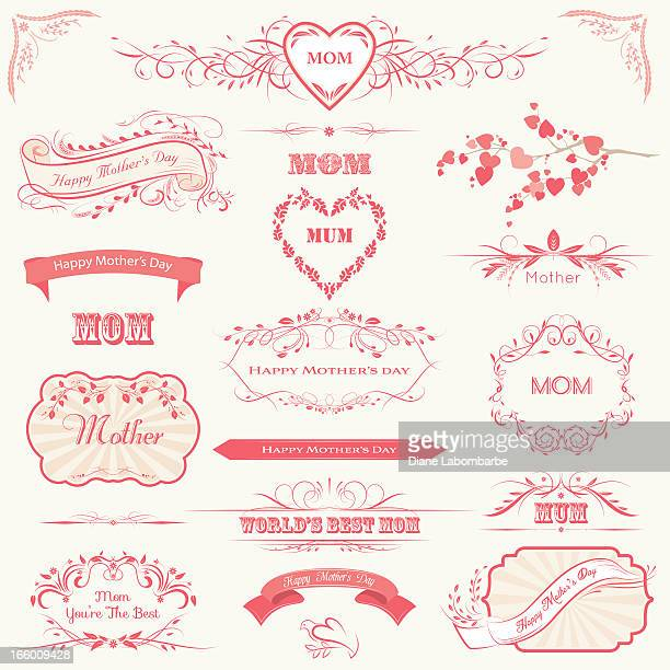 mother's day labels, banners & calligraphic frames - mothers day stock illustrations
