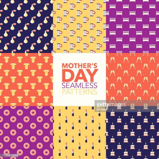 mother's day patterns - femininity stock illustrations