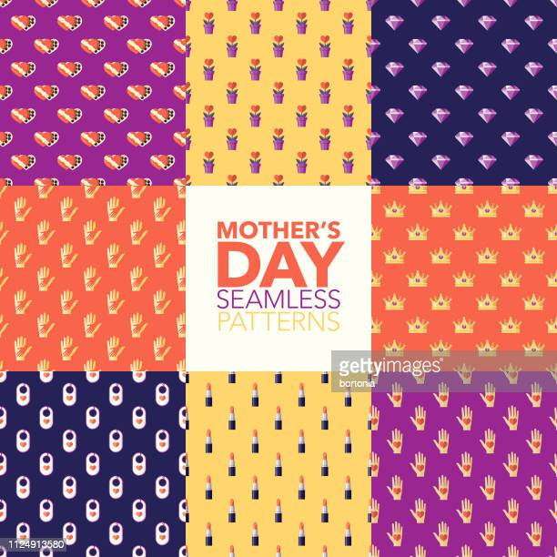 mother's day patterns - mothers day stock illustrations