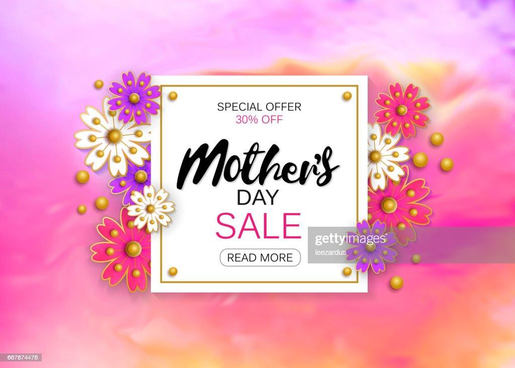 Mütter Tag Verkauf Hintergrund Layout Mit Schönen Bunten Blume Für ...