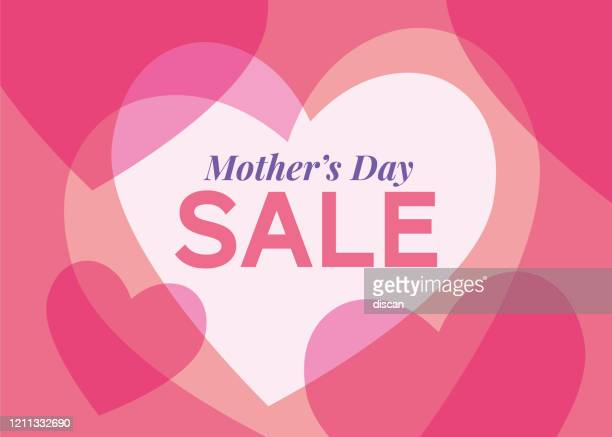 mother's day sale background with hearts frame. - mother's day stock illustrations