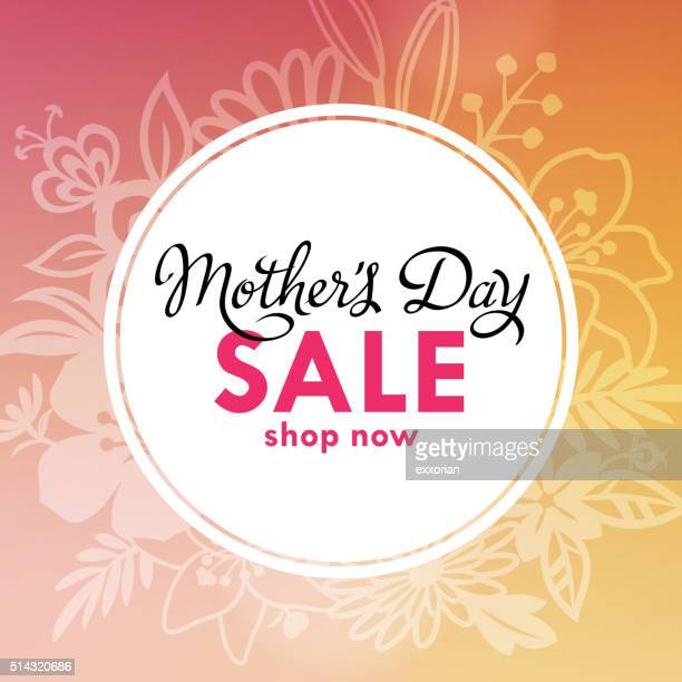 mother's day sale lable - mothers day stock illustrations