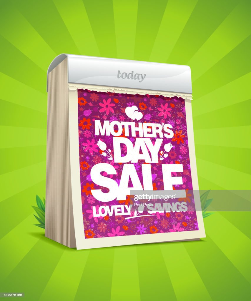 Mother's day sale vector banner design with tear-off calendar, lovely savings