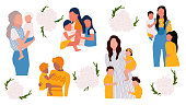 Mother's day template set, vector illustration in flat style. Mom with her baby.