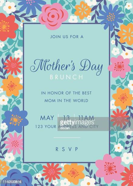 mothers day themed invitation design template. - mothers day stock illustrations