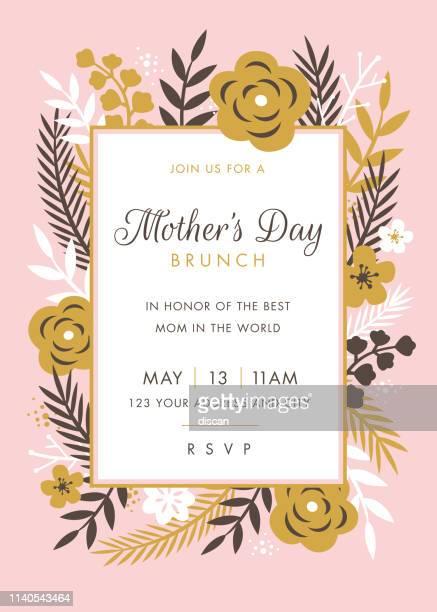 ilustraciones, imágenes clip art, dibujos animados e iconos de stock de plantilla de diseño de invitación temática del día de las madres. - carta de amor