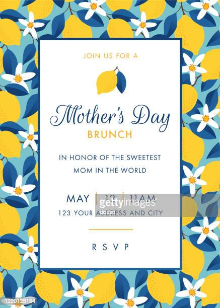 mothers day themed invitation design template. - mother's day stock illustrations