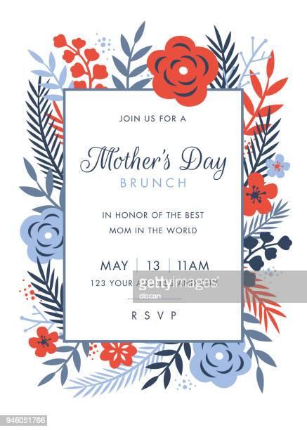 illustrations, cliparts, dessins animés et icônes de modèle de conception sur le thème invitation journée des mères - motif floral