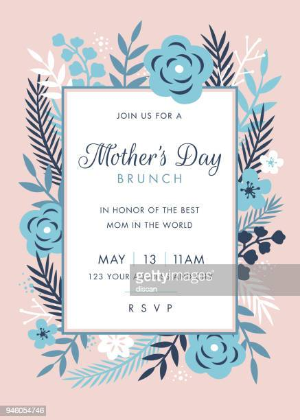 mothers day themed invitation design template - single flower stock illustrations