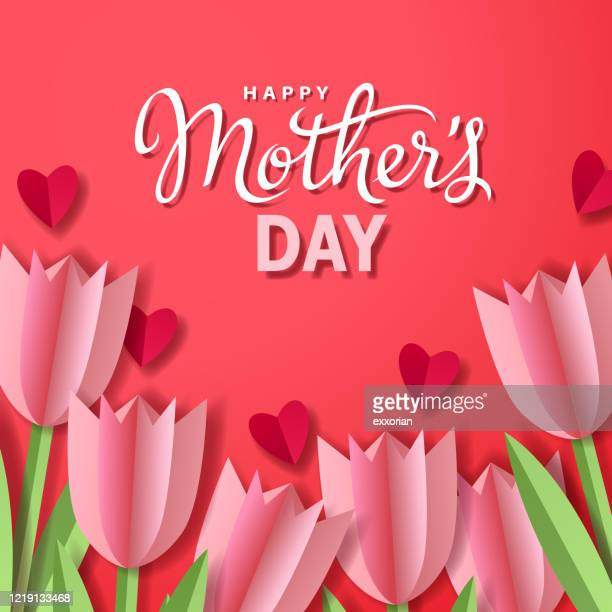 mother's day tulips with hearts - mothers day stock illustrations
