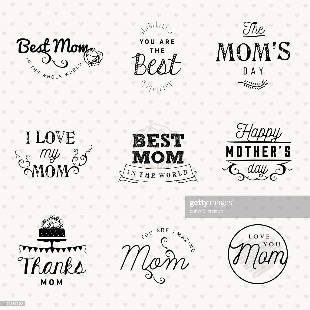 Mother's Day Typography Design Elements in Vintage Style
