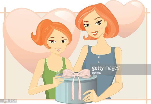 ilustraciones, imágenes clip art, dibujos animados e iconos de stock de día de la madre - madre e hija