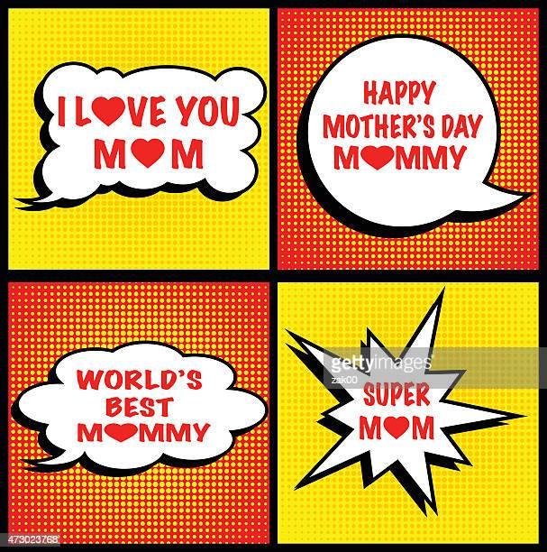 ilustraciones, imágenes clip art, dibujos animados e iconos de stock de día de la madre - frase corta