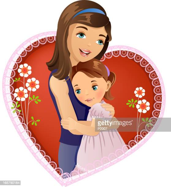 mother's love - kids hugging mom cartoon stock illustrations