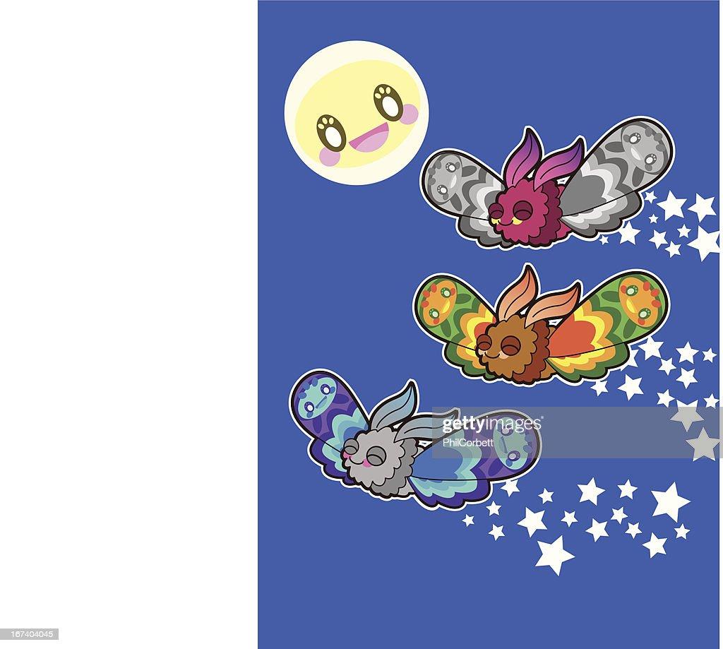 Moths & the Moon : Vector Art