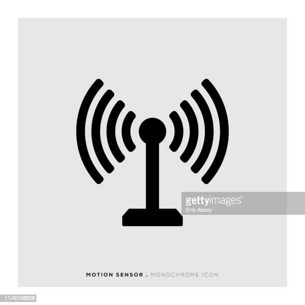 motion sensor monochrome icon - sensor stock illustrations