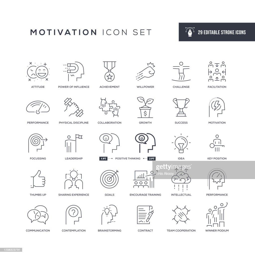 Motivation editierbare Strichliniensymbole : Stock-Illustration
