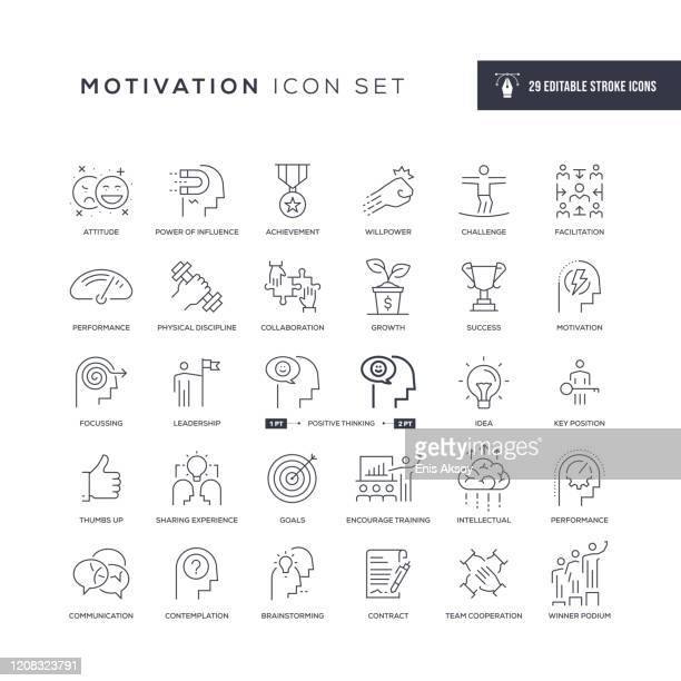 motivation editable stroke line icons - contemplation stock illustrations