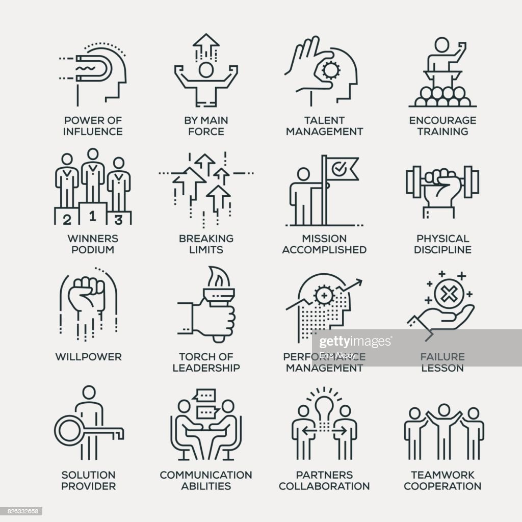 Motivation Icon Set - Line Series : Stock Illustration