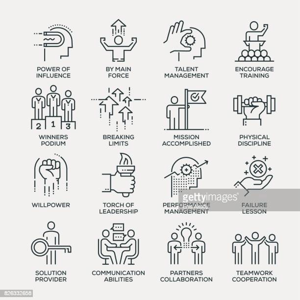 motivation icon set - line series - employee stock illustrations