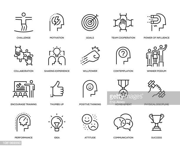motivation icon set - authority stock illustrations