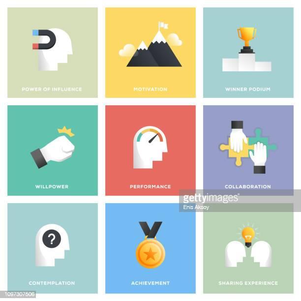 motivation icon set - challenge stock illustrations